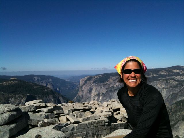 Enjoying the view at the top of Half Dome