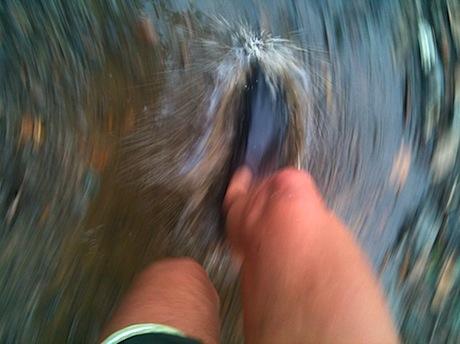 running through puddles
